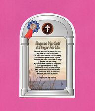 """""""Because You Said A Prayer"""" - Poem - Verse Card with a Cross Penny SKU# 698"""