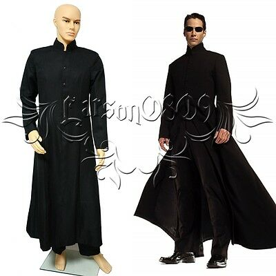 pant  custom made any size Hot Film The Matrix Neo cosplay costume Black coat