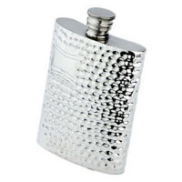 4 Oz. English Pewter Flask With Hammered Finish, Engraved Free, In Box