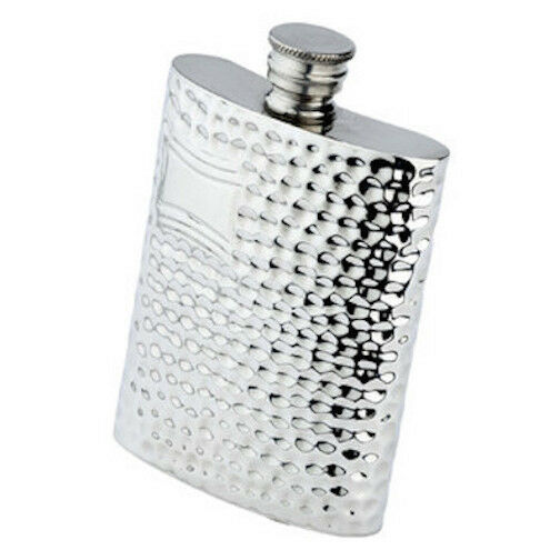 6 oz. English Pewter Flask With Hammered Finish, Engraved Free, New In Box