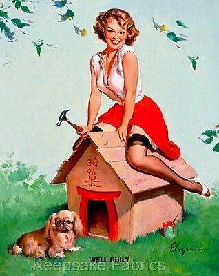 Pin Up Lady Dog House Well Built Quilt Block Multi Szs