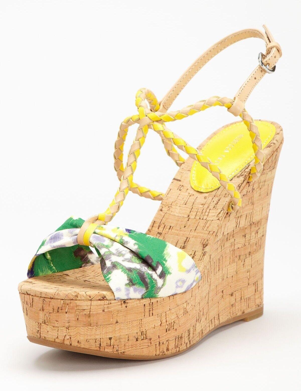 Nuevo  245 Rebecca Taylor Naomi Corcho Corcho Corcho Sandalia De Cuña Punta Abierta Plataforma Zapato  Multi  8  Venta en línea de descuento de fábrica