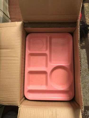 12 Cafeteria School Lunch Food Tray Pink 6-Compartment Carlisle Lot of