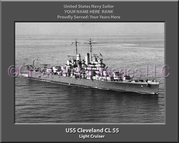 USS Cleveland CL 55 Personalized Canvas Ship Photo Print Navy Veteran Gift