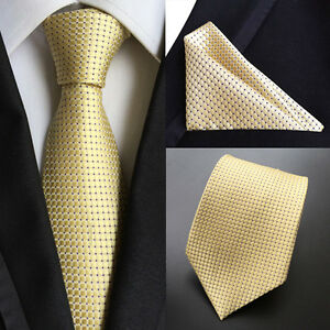 US069-New-Men-Yellow-Black-Polka-Dot-Tie-Necktie-Pocket-Square-Handker-Set-Lot