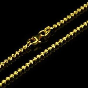 472463633079 Lujo Cadena Bolas 2mm 999 Bañado en Oro 24 Quilates Mujer Hombre ...