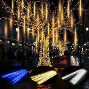 1*30cm 144 LED Lights Meteor Shower Rain 8 Tube Xmas Light Outdoor Tree C2G7