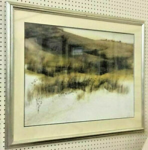 Valfred-Thelin-Beach-Houses-Oil-Watercolor-Painting-Landscape-Dunes-Maine-LARGE