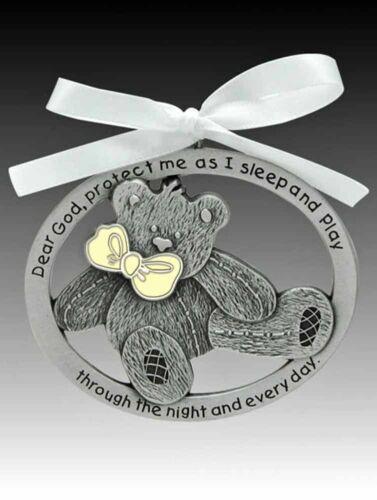 Pewter NEW 2.5 Inches Teddy Bear Crib Medal Glow in the Dark CM17G