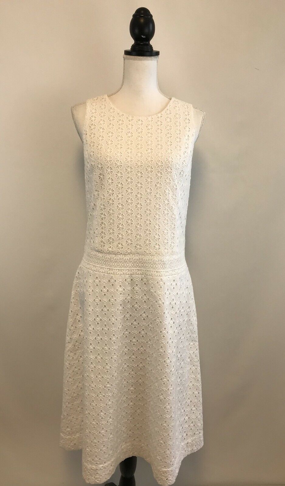 NWT J CREW COLLECTION TRIPLED EYELET DRESS SZ 6 Weiß SOLD OUT