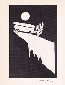 """TOM KRYSS T.L. KRYSS SIGNED """"TRUCK DRIVING RABBIT """"  PRINT"""