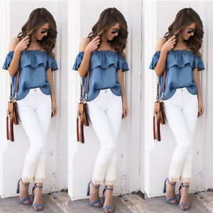 affb522d70b US Women's Sexy Off The Shoulder Tops Casual Party Shirt Cotton ...