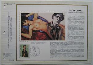 MODIGLIANI-Feuillet-CEF-Timbre-1er-jour-SOIE-1980