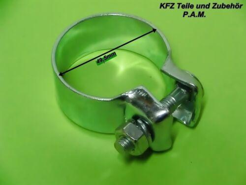 2x Auspuffschellen 49,5mm Rohrschelle Rohrverbinder Schelle  Auspuffschelle