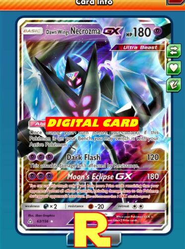 Regular Art Dawn Wings Necrozma GX for Pokemon TCG Online ptcgo in Game