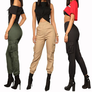 Women Casual Loose Cargo Pants Ladies Fashion Joggers Trousers With Pockets New Ebay