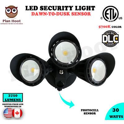 30W Black 3-Headed Dusk-to-Dawn Photocell ETL DLC LED Outdoor Security Light