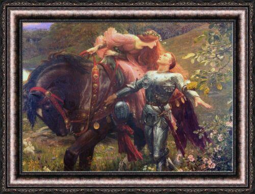 "Frank Dicksee La Belle Dane Sans Merci Framed Canvas Print 36/""x27/"" V13-24"