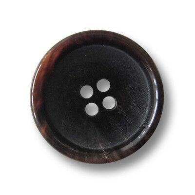 melierte Kunststoff Knöpfe mit Metall Rosette 5 braun-bernsteinfb 1315br-20