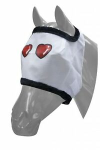 Showman-SMALL-SIZE-Heart-Design-Horse-Fly-Mask-Mesh-with-Fleece-Trim-HORSE-TACK