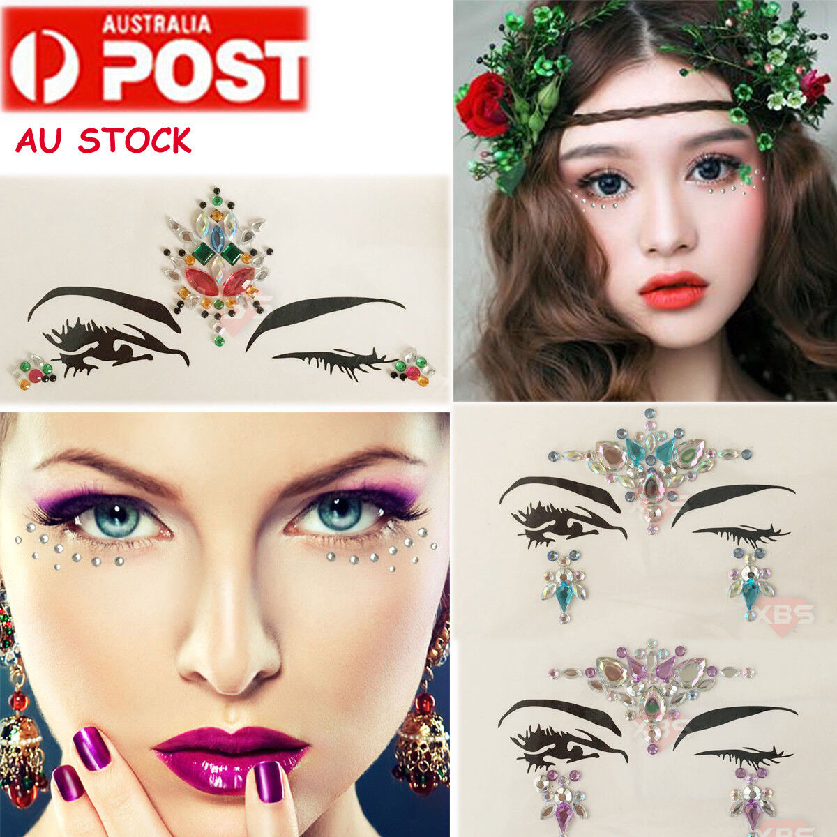 Crystal Rhinestone Face Eye Forehead Eyebrow Bindi Makeup Tattoo