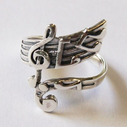 Beautiful Musical Notation Ring Sterling Silver fervid.Size.US=10 UK=T