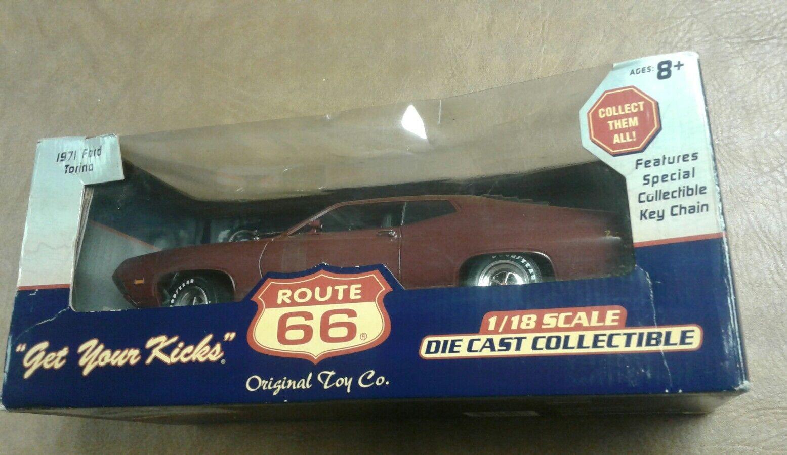 rosso Route 66 1971 Ford Torino 1 18 Scale Die Cast Modelo del coche del músculo Juguete Original