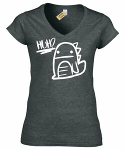 a6a36f24 Ladies Huh Confused Dinosaur Graphic Tee Cute Dino womens V-Neck T ...