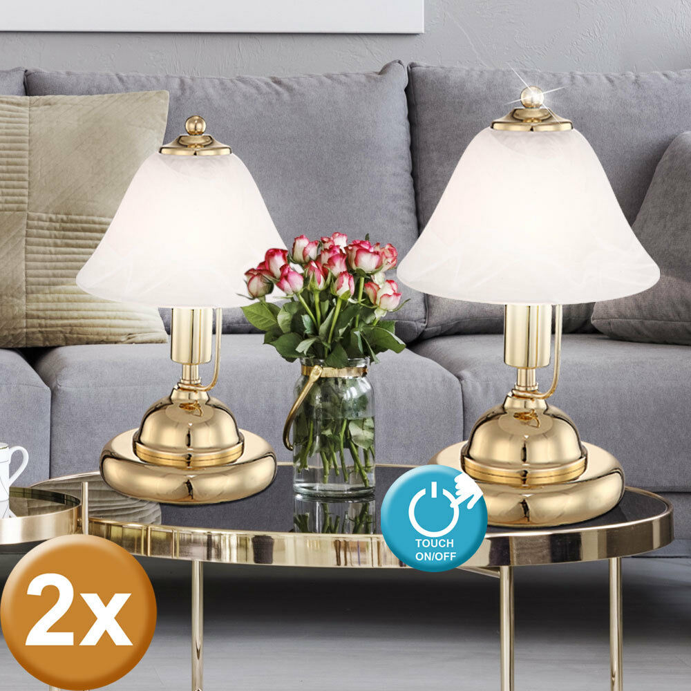 2x touch night light fixture brass table lamps Gold alabaster glass spotlights