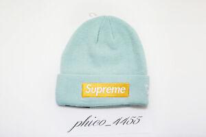 7acc84f42 Details about Supreme x New Era Box Logo Beanie Ice Blue FW17