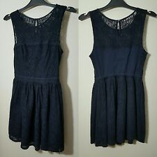 Abercrombie & Fitch Size XS UK 6 8 Blue Broderie Anglais Lace Skater Party Dress