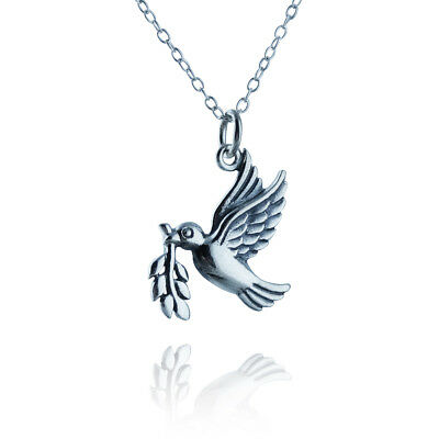925 Sterling Silver Dove Outline Necklace Charm Bird Peace Doves Gift NEW