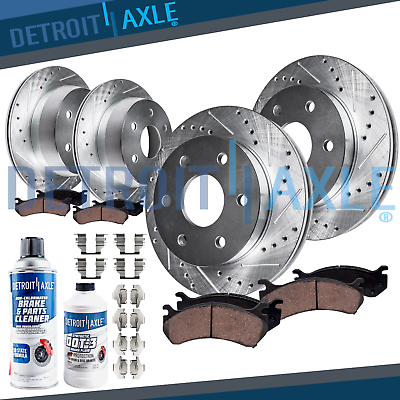 Front Rear Drill Slot Brake Rotors and Ceramic Pads fit 2008 Ford F-150 5.4L 4WD