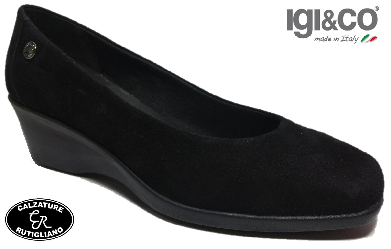 IGI&CO chaussures femmes DECOLTE' ZEPPA SCAMOSCIATO noir MADE IN ITALY - 27961
