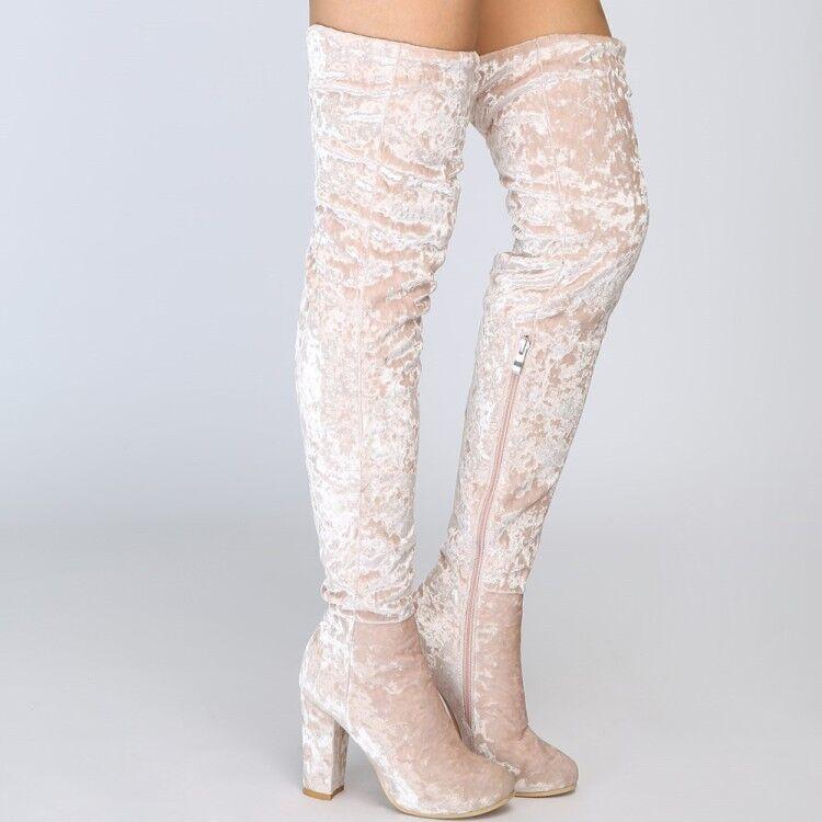 Femmes talon haut bout rond au-dessus du genou bottes à enfiler en Daim Sexy Knight Chaussures