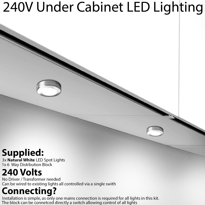 3x LED Kitchen Cabinet Spotlight 240V NATURAL Weiß Surface Flush Chrome Light