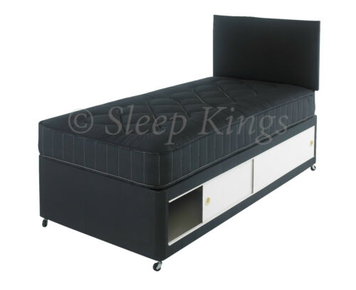 HEADBOARD 2FT6 /& 3FT SINGLE KIDS COLOURED COTTON DIVAN BED WITH MATTRESS