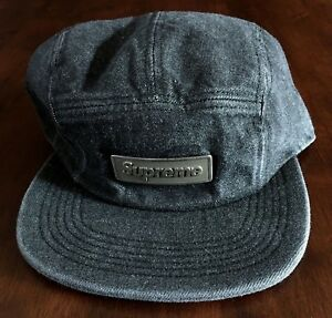 d41ef319eb2 Image is loading SUPREME-METAL-PLATE-CAMP-CAP-BLACK-DENIM-SS18-