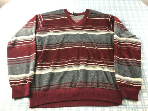Vtg 70s CAMPUS TERRY CLOTH VELOUR SURF LONG SLEEVE