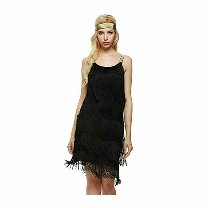 UK Gatsby 1920's Cocktail Party Sequin Fringe Flapper Dress Cocktail Costume