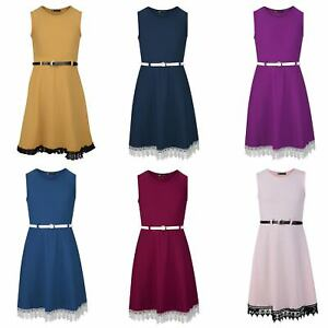 Girls Belted Lace Hem Skater Dress Textured Casual Smart Party Top 3 ... c30e308f1