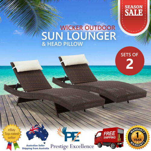 2X Outdoor Wicker Sun Lounge Lounger Chair Garden Patio Pool Seat Furniture Sofa
