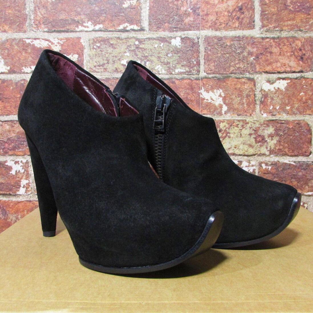Acne Studios 38 Adon Pumps Heels Black Suede Leather Booties Platform