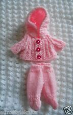 """Doll Clothes Pink Vintage Style footed Hand Knitted Outfit fit ooak baby 4in. 5"""""""