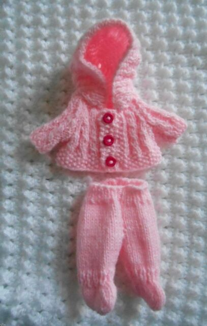 Doll Clothes Pink Vintage Style footed Hand Knitted Outfit for Berenguer Baby 5