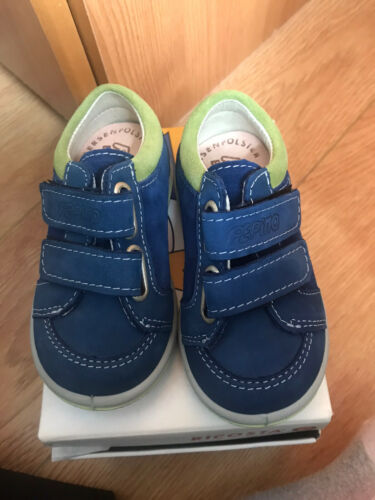 EU 20 Ricosta Timmy Navy Leather With Green Suede Trim Shoes Size UK 4 Infant