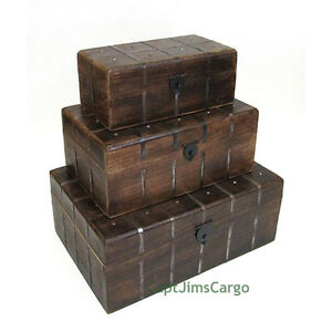 Incroyable Image Is Loading Pirate Treasure Chest 18 034 Nested Wooden Storage