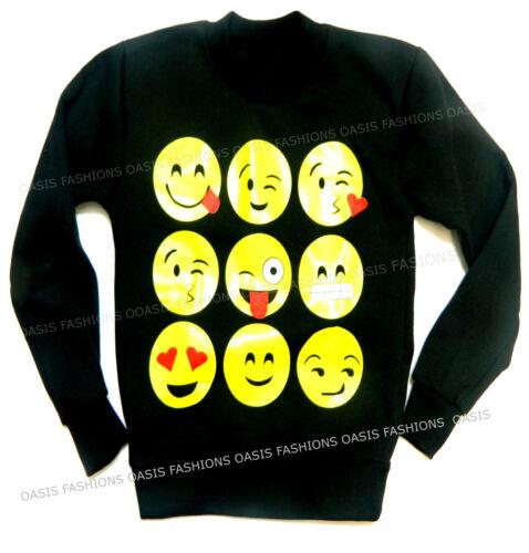 Enfants Garçons Filles Smileys Manche Courte T-Shirts Sweat Chemises Pull 7-13