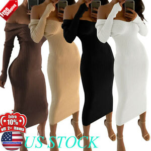 0d3350cda7 Details about WOMENS OFF SHOULDER V-NECK MAXI SWEATER DRESS LONG SLEEVE  CORSET BODYCON DRESSES