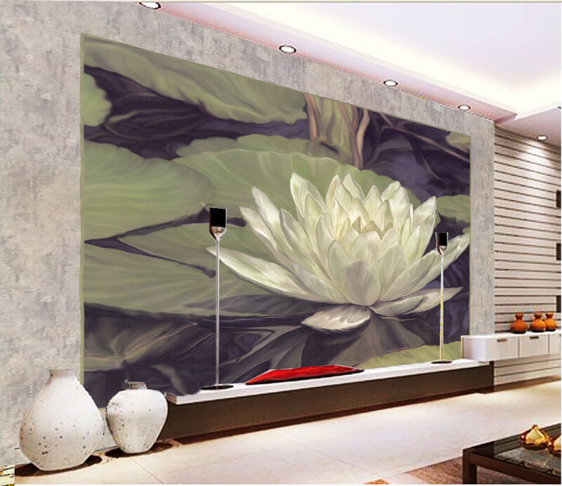 3D Pond Weiß Lotus Paper Wall Print Wall Decal Wall Deco Indoor Mural
